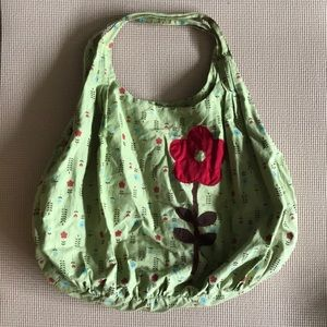 A Fine Mess Green Purse with Flowers and Pockets